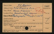 Entry card for Baker, F. C. for the 1923 May Show.