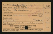Entry card for Barrick, Shirley Gordon for the 1923 May Show.