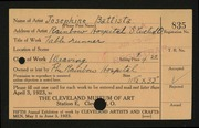 Entry card for Battista, Josephine, and Rainbow Hospital for Crippled and Convalescent Children for the 1923 May Show.