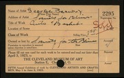 Entry card for Beaudry, George, and Cleveland Society for the Blind for the 1923 May Show.