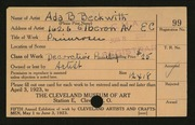 Entry card for Beckwith, Ada Bell for the 1923 May Show.