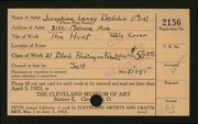 Entry card for Beduhn, Josephine Laney for the 1923 May Show.