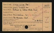 Entry card for Bell, Clara  for the 1923 May Show.