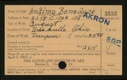 Entry card for Beneduce, Antimo for the 1923 May Show.