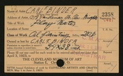 Entry card for Binder, Carl for the 1923 May Show.