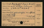 Entry card for Binet, Denise Bourcart for the 1923 May Show.