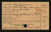 Entry card for Bowman, Ada, and Cleveland Society for the Blind for the 1923 May Show.