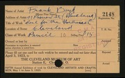 Entry card for Boyd, Frank D. for the 1923 May Show.