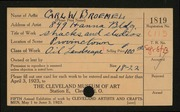 Entry card for Broemel, Carl William for the 1923 May Show.