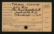 Entry card for Clough, Thomas for the 1923 May Show.