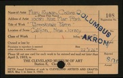 Entry card for Collins, Mary Susan for the 1923 May Show.
