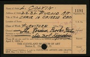 Entry card for Colvin, Lawrence, and Rorimer-Brooks Studios for the 1923 May Show.