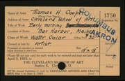 Entry card for Cooper, Thomas Heaton, and Cleveland School of Art for the 1923 May Show.