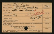 Entry card for Csosz, John for the 1923 May Show.