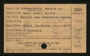 Entry card for Daniele, Francesco for the 1923 May Show.