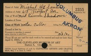 Entry card for De Santis, Michael for the 1923 May Show.