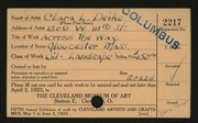 Entry card for Deike, Clara L. for the 1923 May Show.