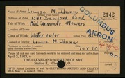 Entry card for Dunn, Louise Morrison for the 1923 May Show.