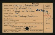 Entry card for Eckert, Katharine Bird for the 1923 May Show.