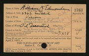 Entry card for Edmondson, William J. for the 1923 May Show.
