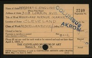 Entry card for English, Herbert C. for the 1923 May Show.