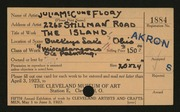 Entry card for Flory, Julia McCune for the 1923 May Show.