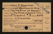 Entry card for Gaertner, Carl Frederick for the 1923 May Show.
