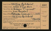 Entry card for Gilchrist, William for the 1923 May Show.