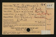Entry card for Gottwald, Frederick Carl, and Cleveland School of Art for the 1923 May Show.