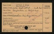 Entry card for Gray, Arthur S. for the 1923 May Show.