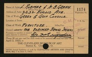 Entry card for Green, William B., and Rorimer, Louis; Hawk, Clayton M.; Rorimer-Brooks Studios  for the 1923 May Show.