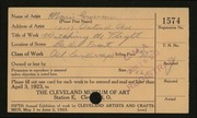 Entry card for Grossman, Morris for the 1923 May Show.