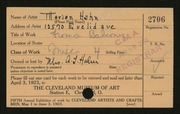 Entry card for Hahn, Marian for the 1923 May Show.