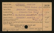 Entry card for Harter, Herbert for the 1923 May Show.