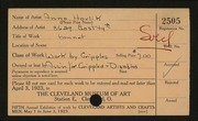 Entry card for Havlik, Anna, and Association for the Crippled and Disabled for the 1923 May Show.