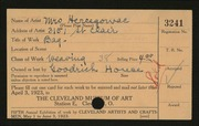 Entry card for Hercegowac, Mrs., and Goodrich House Weavers for the 1923 May Show.