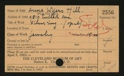 Entry card for Hill, Anna Wyers for the 1923 May Show.