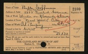 Entry card for Hoffman, Belle Mildred for the 1923 May Show.