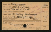 Entry card for Holden, Cora for the 1923 May Show.