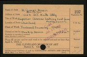 Entry card for Homer, H. George for the 1923 May Show.