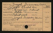 Entry card for Joseph Incorvaia Studio for the 1923 May Show.