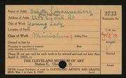 Entry card for Johannesberg, Babette for the 1923 May Show.