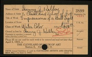 Entry card for Keller, Henry G., and Cleveland School of Art for the 1923 May Show.