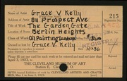 Entry card for Kelly, Grace Veronica for the 1923 May Show.