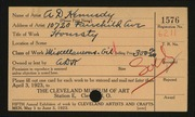 Entry card for Kennedy, Andrew D. for the 1923 May Show.