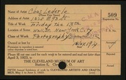 Entry card for Lederle, Charles for the 1923 May Show.