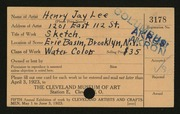 Entry card for Lee, Henry Jay for the 1923 May Show.