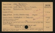 Entry card for Markwart, John, and Schwegler & Company for the 1923 May Show.