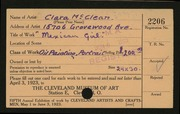 Entry card for McClean, Clara for the 1923 May Show.
