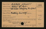 Entry card for Mewett, Alfred, and Cleveland School of Art for the 1923 May Show.
